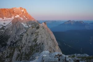 sunrise at Zugspitze, highest mountain in Germany (2962 m)